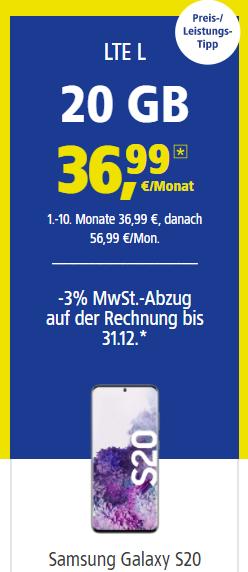 1&1 Service_Card_Tarif LTE L mit Samsung S20